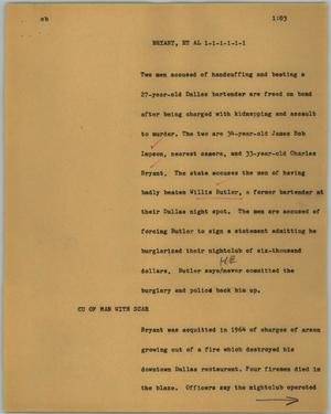 Primary view of object titled '[News Script: Bryant, et al]'.