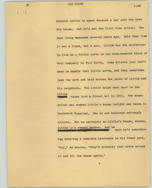 Primary view of object titled '[News Script: Car house]'.