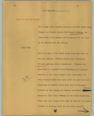 Primary view of object titled '[News Script: City manager]'.
