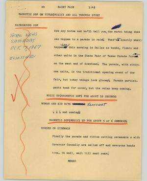Primary view of object titled '[News Script: Rainy fair]'.