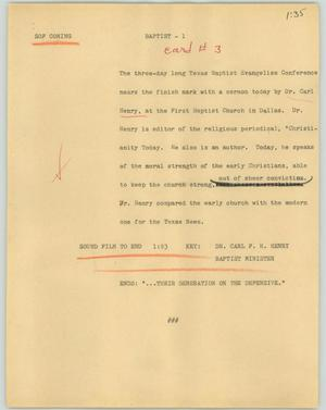 Primary view of object titled '[News Script: Baptist]'.