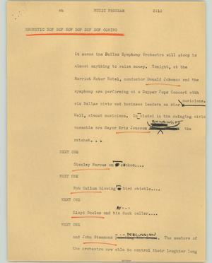 Primary view of object titled '[News Script: Music program]'.