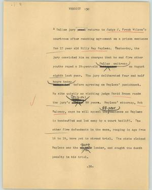 Primary view of object titled '[News Script: Verdict]'.