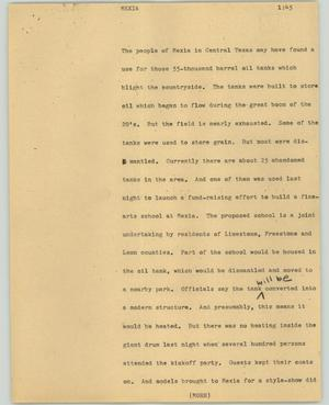 Primary view of object titled '[News Script: Mexia]'.