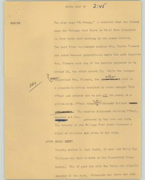 Primary view of object titled '[News Script: Crime wrap up]'.