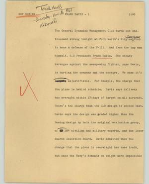 Primary view of object titled '[News Script: Frank Davis]'.