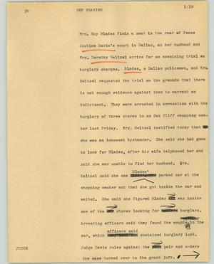 Primary view of object titled '[News Script: Cop hearing]'.