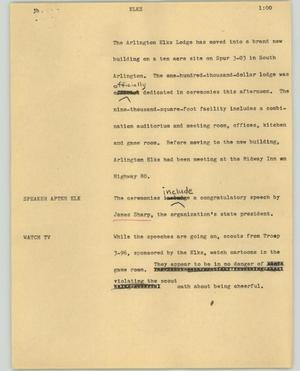 Primary view of object titled '[News Script: Elks]'.