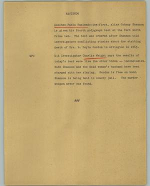 Primary view of object titled '[News Script: Haciendo]'.