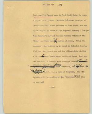 Primary view of object titled '[News Script: Luci and Pat]'.