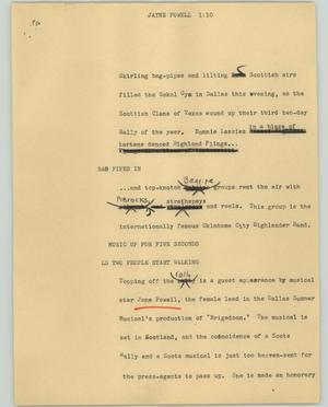Primary view of object titled '[News Script: Jayne Powell]'.