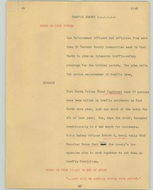 Primary view of object titled '[News Script: Traffic safety]'.