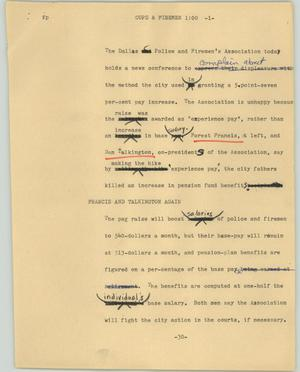 Primary view of object titled '[News Script: Cops & Firemen]'.