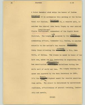 Primary view of object titled '[News Script: Seabees]'.