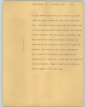 Primary view of object titled '[News Script: Truck fatal]'.