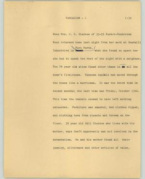 Primary view of object titled '[News Script: Vandalism]'.
