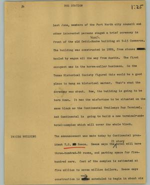 Primary view of object titled '[News Script: Bus station]'.