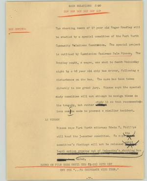 Primary view of object titled '[News Script: Race relations]'.
