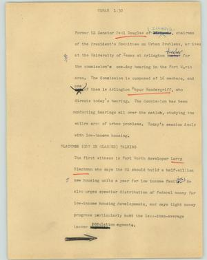 Primary view of object titled '[News Script: Urban]'.