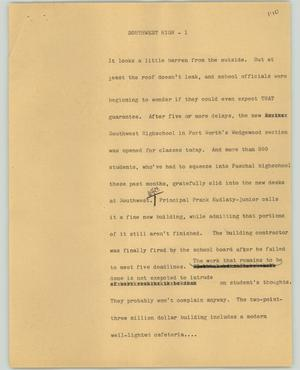 Primary view of object titled '[News Script: Southwest high]'.