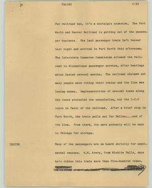 Primary view of object titled '[News Script: Trains]'.