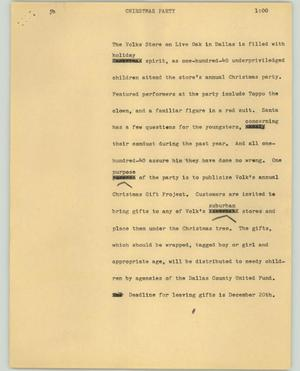 Primary view of object titled '[News Script: Chirstmas party]'.
