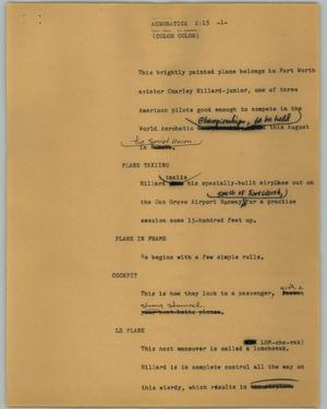 Primary view of object titled '[News Script: Acrobatics]'.