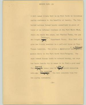 Primary view of object titled '[News Script: Arlene Dahl]'.