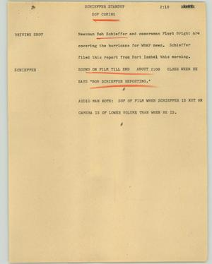 Primary view of object titled '[News Script: Schieffer standup]'.