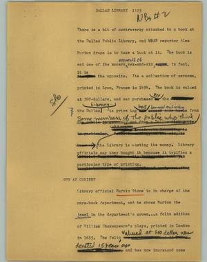 Primary view of object titled '[News Script: Dallas Library]'.