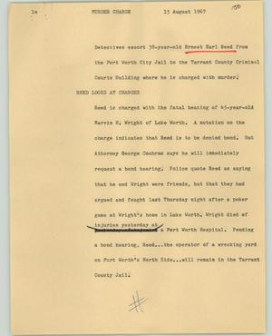 Primary view of object titled '[News Script: Murder charge]'.