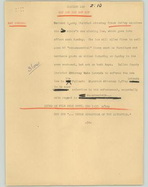 Primary view of object titled '[News Script: Closing day]'.