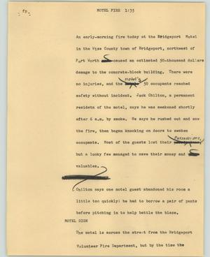 Primary view of object titled '[News Script: Motel Fire]'.