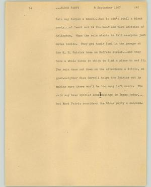 Primary view of object titled '[News Script: Block party]'.