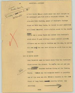 Primary view of object titled '[News Script: Shooting--robbery]'.