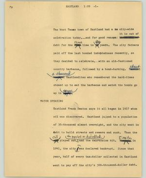Primary view of object titled '[News Script: Eastland]'.