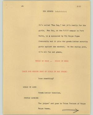 Primary view of object titled '[News Script: TCU Stunts]'.