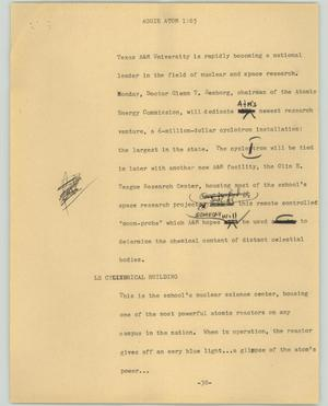 Primary view of object titled '[News Script: Aggie atom]'.