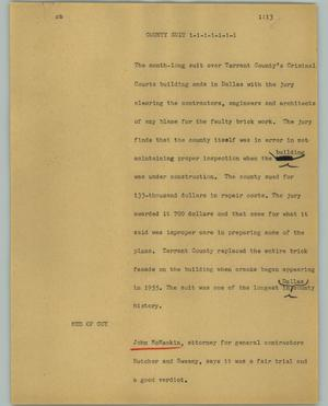 Primary view of object titled '[News Script: County suit]'.