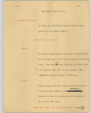 Primary view of object titled '[News Script: Fort Worth lights]'.