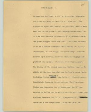 Primary view of object titled '[News Script: Bomb dance]'.