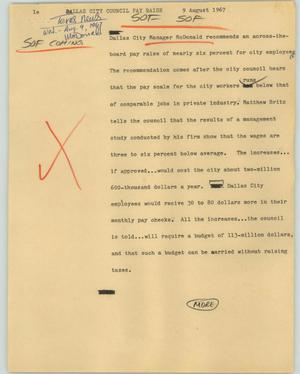 Primary view of object titled '[News Script: Dallas city council pay raise]'.