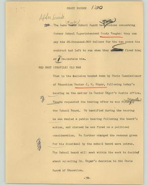 Primary view of object titled '[News Script: Grady Vaughn]'.