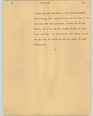 Primary view of object titled '[News Script: Boy killed]'.