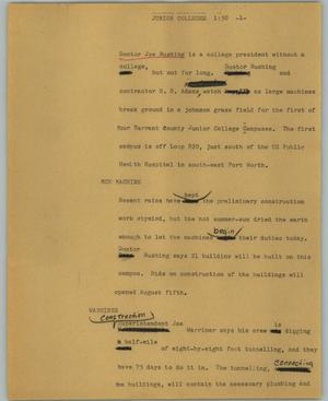 Primary view of object titled '[News Script: Junior colleges]'.