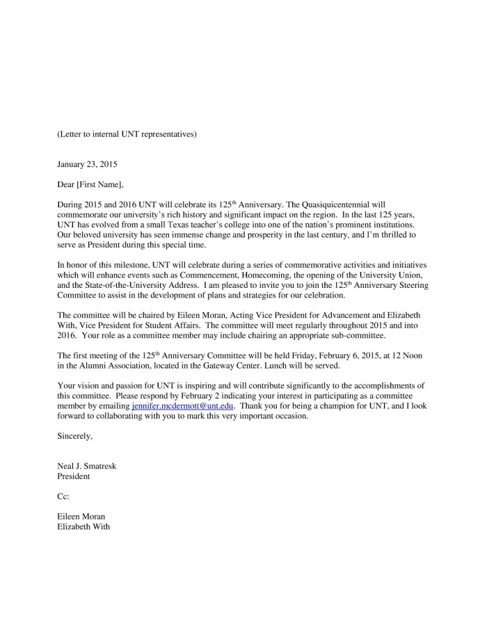 Letter From Neal Smatresk to Internal UNT Representatives, January