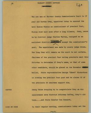 Primary view of object titled '[News Script: Tarrant County Commish]'.