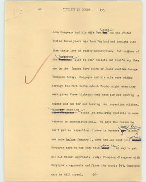 Primary view of object titled '[News Script: Cyclists in court]'.