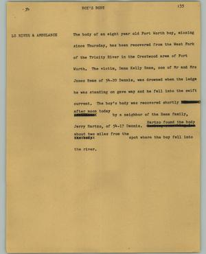 Primary view of object titled '[News Script: Boy's body]'.