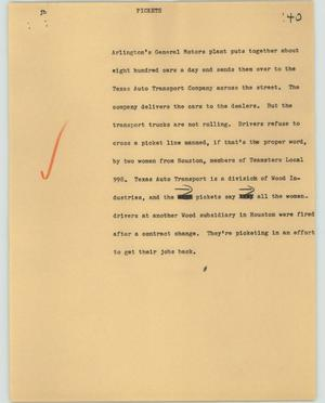 Primary view of object titled '[News Script: Pickets]'.